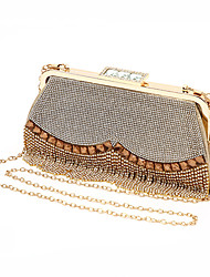 cheap -Women's Bags Polyester Alloy Evening Bag Crystals Tassel Tassel Rhinestone Party / Evening Daily Evening Bag Gold