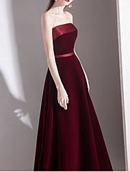 cheap -A-Line Strapless Floor Length Velvet Bridesmaid Dress with Sash / Ribbon