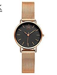 cheap -Shengke Women Watch Ripple Texture Small 32 MM Dial Silver Mesh Band Japanese Quartz Movement Watches Relogio Feminino