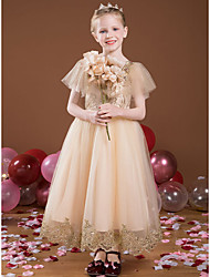 cheap -Princess Ankle Length Flower Girl Dresses Party Satin Short Sleeve Square Neck with Lace