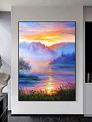 cheap -Oil Painting Handmade Hand Painted Wall Art Abstract Landscape Sunset West Hill  Home Decoration Decor Stretched Frame Ready to Hang