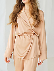 cheap -Women's Breathable Robes Gown Suits Pajamas Bathrobes Home Daily Bed Basic Elastic Waist Pure Color Imitated Silk Simple Soft Shirt Pant Fall Winter V Wire Long Sleeve Long Pant Lace Up