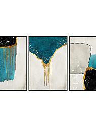 cheap -Oil Painting Handmade Hand Painted Wall Art Three Panels Blue Abstract Modern As Gift Home Decoration Decor Rolled Canvas No Frame Unstretched