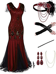 cheap -The Great Gatsby Roaring 20s 1920s Vintage Vacation Dress Flapper Dress Outfits Masquerade Prom Dress Women's Tassel Fringe Costume Red+Black / 1 / Coral Red Vintage Cosplay Party Prom / Body Jewelry