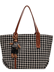 cheap -Women's Bags Linen Synthetic Tote Top Handle Bag Zipper Plain Geometric Daily Outdoor Retro Leather Bag Tote Black Brown Coffee
