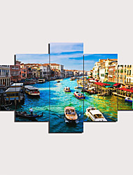 cheap -5 Panels Wall Art Canvas Prints Painting Artwork Picture Venice Painting Home Decoration Decor Rolled Canvas No Frame Unframed Unstretched