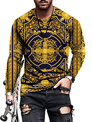 cheap -Men's T shirt 3D Print Graphic Vintage Print Long Sleeve Casual Tops Casual Streetwear Big and Tall Blue Yellow Black