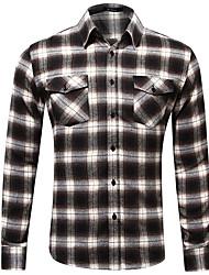 cheap -Men's Shirt Plaid Button-Down Print Long Sleeve Home Regular Fit Tops Casual Fashion Breathable Comfortable Brown