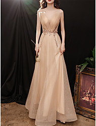 cheap -A-Line Glittering Elegant Prom Formal Evening Dress Scoop Neck Sleeveless Floor Length Tulle with Beading Sequin 2021
