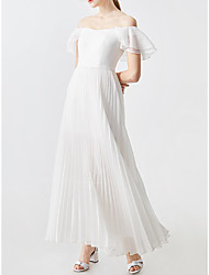 cheap -A-Line Wedding Dresses Off Shoulder Ankle Length Chiffon Short Sleeve Simple with Pleats Ruffles 2021