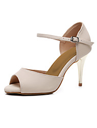 cheap -Women's Latin Shoes Salsa Shoes Heel Solid Color Slim High Heel Peep Toe Beige Buckle Ankle Strap