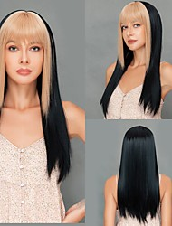 cheap -Cosplay Costume Wig Synthetic Wig Cosplay Wig Straight Yaki Straight Layered Haircut Deep Parting With Bangs Wig 18 inch Black / Gold Synthetic Hair Women's Soft Adjustable Heat Resistant Black