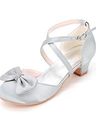 cheap -Girls' Heels Flower Girl Shoes Satin Big Kids(7years +) Little Kids(4-7ys) Toddler(2-4ys) Wedding Crystal / Rhinestone Butterfly Blue Purple Red Spring Summer