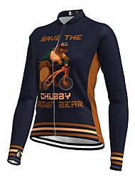 cheap -21Grams Women's Long Sleeve Cycling Jersey Spandex Dark Navy Bear Bike Top Mountain Bike MTB Road Bike Cycling Quick Dry Moisture Wicking Sports Clothing Apparel / Stretchy / Athleisure