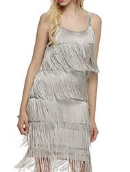 cheap -Women's A Line Dress Short Mini Dress Gray White Black Sleeveless Solid Color Tassel Fringe Fall Summer Square Neck Casual Sexy 2021 S M L XL XXL 3XL