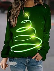 cheap -Women's Sweatshirt Pullover Linear Streamer Print Christmas Weekend 3D Print Active Streetwear Hoodies Sweatshirts  Green