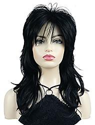 cheap -Shaggy Layered Wig with Bangs Shoulder Length Natural Straight Shags Wig Soft Synthetic Hair