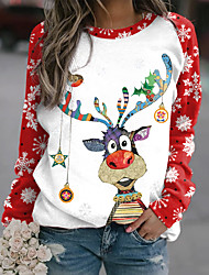cheap -Women's Sweatshirt Pullover Plaid Elk Print Christmas Casual Sports 3D Print Active Streetwear Hoodies Sweatshirts  Green White Red