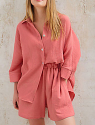 cheap -Women's Breathable Loungewear Sets Street Daily Going out Airport Basic Elastic Waist Pure Color Cotton Simple Fashion Sport Shirt Shorts Fall Winter V Wire Long Sleeve Short Pant Buckle Pocket
