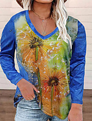 cheap -Women's Plus Size Tops Blouse Shirt Floral Print Long Sleeve Crewneck Streetwear Daily Weekend Polyster Fall Blue Yellow