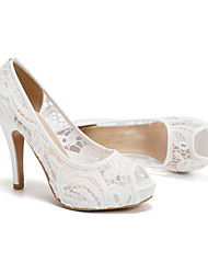 cheap -Women's Wedding Shoes Pumps Peep Toe Wedding Office Lace Solid Colored White