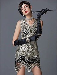 cheap -The Great Gatsby Charleston Roaring 20s 1920s Vintage Vacation Dress Flapper Dress Cocktail Dress Halloween Costumes Prom Dresses Women's Sequin Costume Golden Vintage Cosplay Party Homecoming Prom