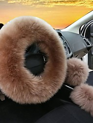 cheap -3Pcs Set Womens Winter Fashion Wool Fur Soft Furry Steering Wheel Covers Black Fluffy Handbrake Cover Gear Shift Cover Fuzz Warm Non-slip Car Decoration Long Hair