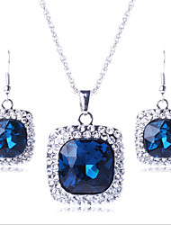 cheap -Women's Bridal Jewelry Sets Geometrical Precious Fashion Silver Plated Earrings Jewelry Purple / Blue For Christmas Party Wedding Gift Festival 1 set