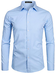 cheap -Men's Shirt Solid Colored Long Sleeve Party Tops Polyester Business Basic Breathable Comfortable Classic Collar Blue Purple Blushing Pink / Spring &  Fall / Fall & Winter / Wash with similar colours