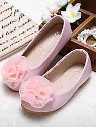 cheap -Girls' Flats Flower Girl Shoes Princess Shoes Microfiber Little Kids(4-7ys) Wedding Daily Flower Pink Ivory Fall Winter