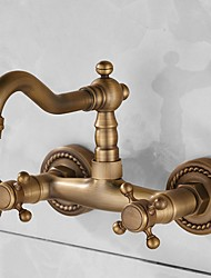 cheap -Bathroom Sink Faucet - Rotatable / Wall Mount Antique Brass Wall Installation Two Handles One HoleBath Taps