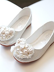 cheap -Girls' Flats Flower Girl Shoes Princess Shoes Lace Mesh Little Kids(4-7ys) Heart Crystals / Rhinestones Pink White Fall Spring