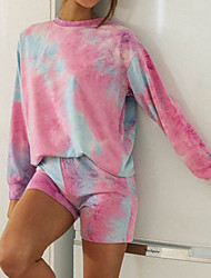 cheap -Women's Breathable Suits Loungewear Home Daily Print Tie Dye Polyester Simple Shorts Fall Crew Neck Long Sleeve Short Pant Not Specified