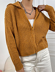 cheap -Women's Cardigan Cropped  Sweater Knitted Solid Color Stylish Casual Soft Long Sleeve Sweater Cardigans Shirt Collar Fall Winter Khaki