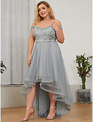 cheap -A-Line Plus Size Wedding Guest Formal Evening Dress Off Shoulder Sleeveless Floor Length Tulle with Sequin 2021