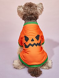 cheap -Dog Cat Halloween Costumes T-shirts Pumpkin Party Cosplay Halloween Casual / Daily Dog Clothes Puppy Clothes Dog Outfits Breathable Orange Costume for Girl and Boy Dog Polyster S M L