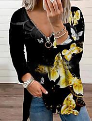 cheap -Women's Plus Size Tops Blouse Shirt Butterfly Animal Zipper Print Long Sleeve V Neck Streetwear Daily Weekend Polyster Fall Blue Purple