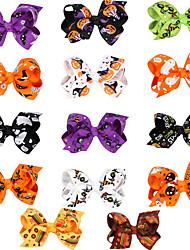 cheap -14 pcs/set Halloween Bow Hair Clip Cartoon Print Bow Children Hair Accessory Head Ornament