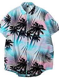 cheap -Men's Shirt Coconut Tree Button-Down Print Short Sleeve Street Regular Fit Tops Casual Fashion Hawaiian Breathable Blue / Summer