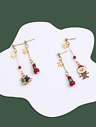 cheap -Women's Earrings Mismatch Earrings Tassel Fringe Santa Suits Bell Stylish Dangling Cartoon European Cute Earrings Jewelry Gold / White / Gold For Christmas Party Street Daily Festival