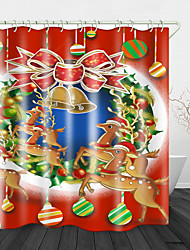 cheap -Beautiful Christmas Deer Printed Waterproof Fabric Shower Curtain Bathroom Home Decoration Covered Bathtub Curtain Lining Including hooks.