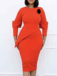 cheap -Women's Sheath Dress Knee Length Dress Orange Long Sleeve Solid Color Ruched Fall Round Neck Elegant Casual 2021 M L XL