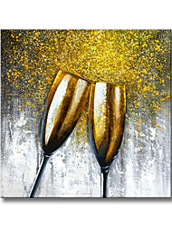 cheap -Oil Painting Handmade Hand Painted Wall Art Modern Abstract Gold Wine Glass Home Decoration Decor Rolled Canvas No Frame Unstretched