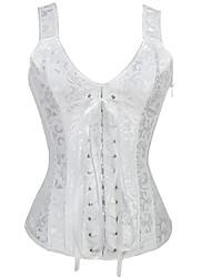 cheap -Women's Halloween Corset Plain Drawstring Strapless Vintage Sexy Punk & Gothic Tops White Beige