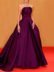cheap -Ball Gown Celebrity Style Elegant Engagement Formal Evening Dress Strapless Sleeveless Court Train Satin with Pleats 2021