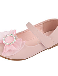 cheap -Girls' Flats Flower Girl Shoes Microfiber Little Kids(4-7ys) Wedding Daily Crystals / Rhinestones Pink Ivory Fall Spring