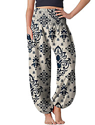 cheap -Women's Casual / Sporty Streetwear Comfort Bloomers Gym Yoga Pants Flower / Floral Full Length Pocket Elastic Waist Print Yellow Khaki White Black Brown