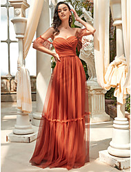cheap -A-Line Strapless Floor Length Tulle Bridesmaid Dress with Ruffles