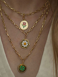 cheap -Pendant Necklace Chain Necklace Women's Fancy Flower Clover Daisy Artistic Ethnic Fashion Vintage European Wedding Gold Golden 2 Golden 3 48.5 cm Necklace Jewelry 1pc for Wedding Street Daily Club