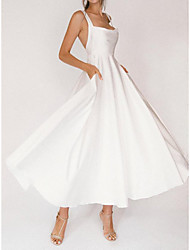 cheap -A-Line Wedding Dresses Square Neck Ankle Length Satin Sleeveless Simple Sexy Little White Dress with Solid Color 2021